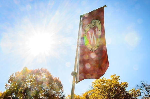 Image: W crest banner at Bascom Hill